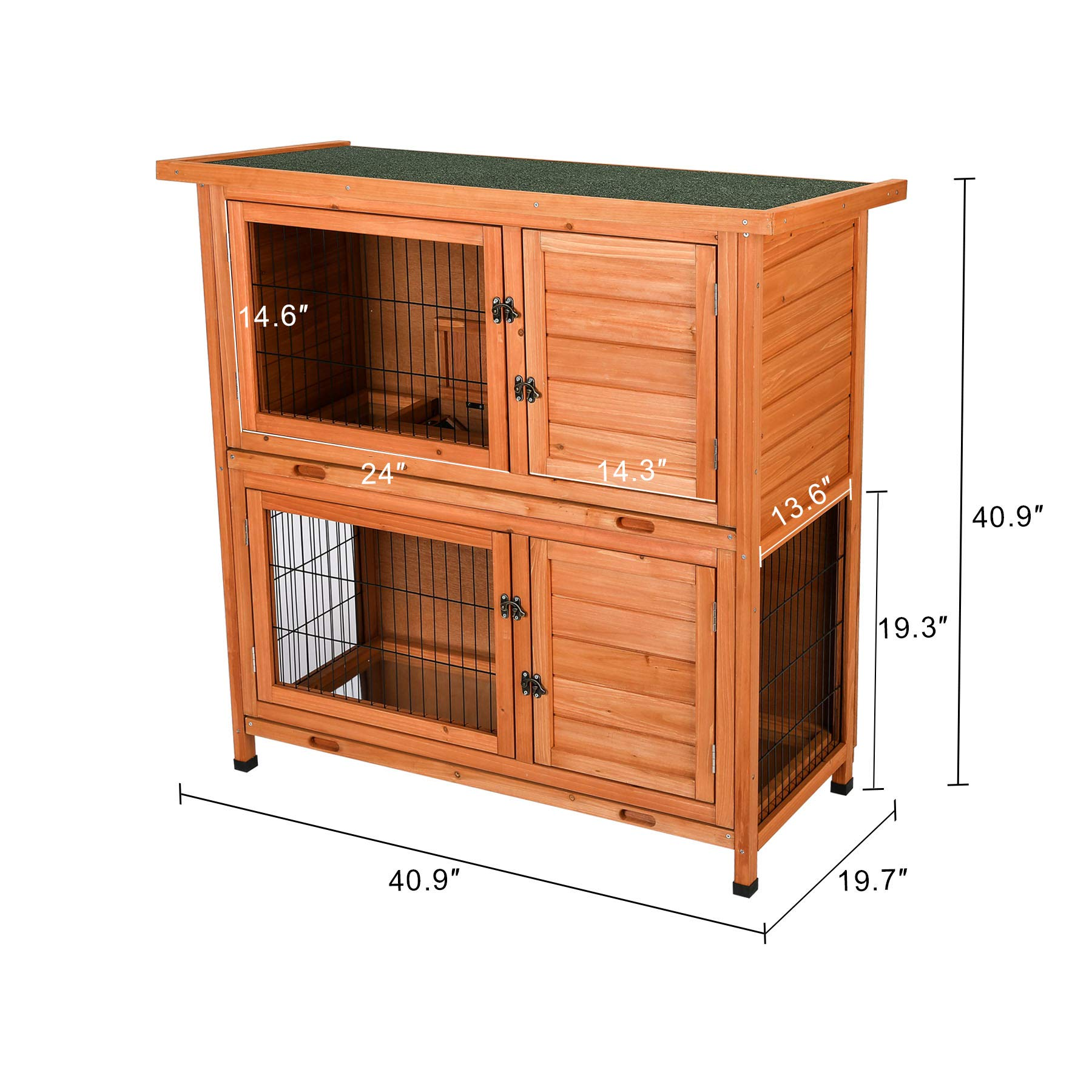 CO-Z 2 Story Outdoor Wooden Bunny Cage Rabbit Hutch Guinea Pig House in Nature Color with Ladder for Small Animals by CO-Z (Image #4)