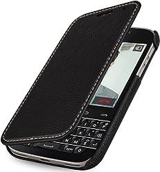 StilGut Book Type sans Clip, Housse en Cuir avec Fonction Marche/arrêt pour Blackberry Classic Q20, en Noir