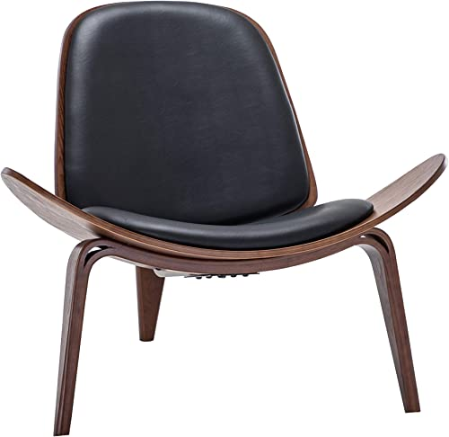 Belleze Mid Century Modern Tripod Plywood Lounge Chair Walnut Bentwood Upholstered Faux Leather