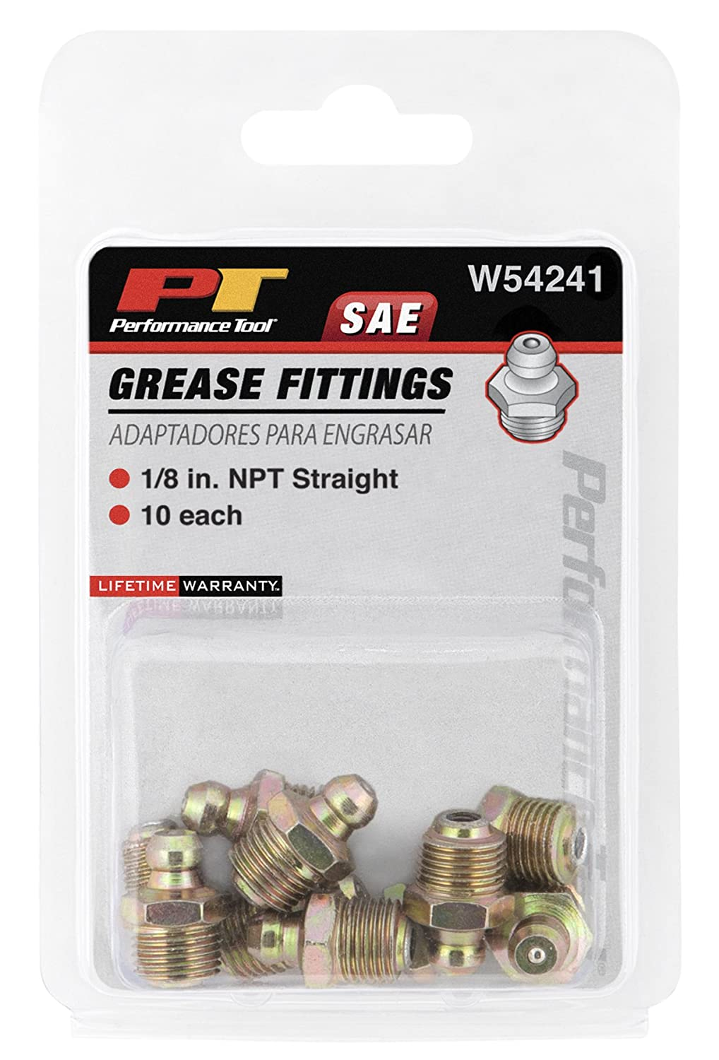 Performance Tool W54246 6mm x 1mm Grease Fitting, (Pack of 10)