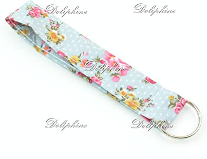 Floral Print Wristlet Fabric Key Fob Key Chain for ID Badge Holder