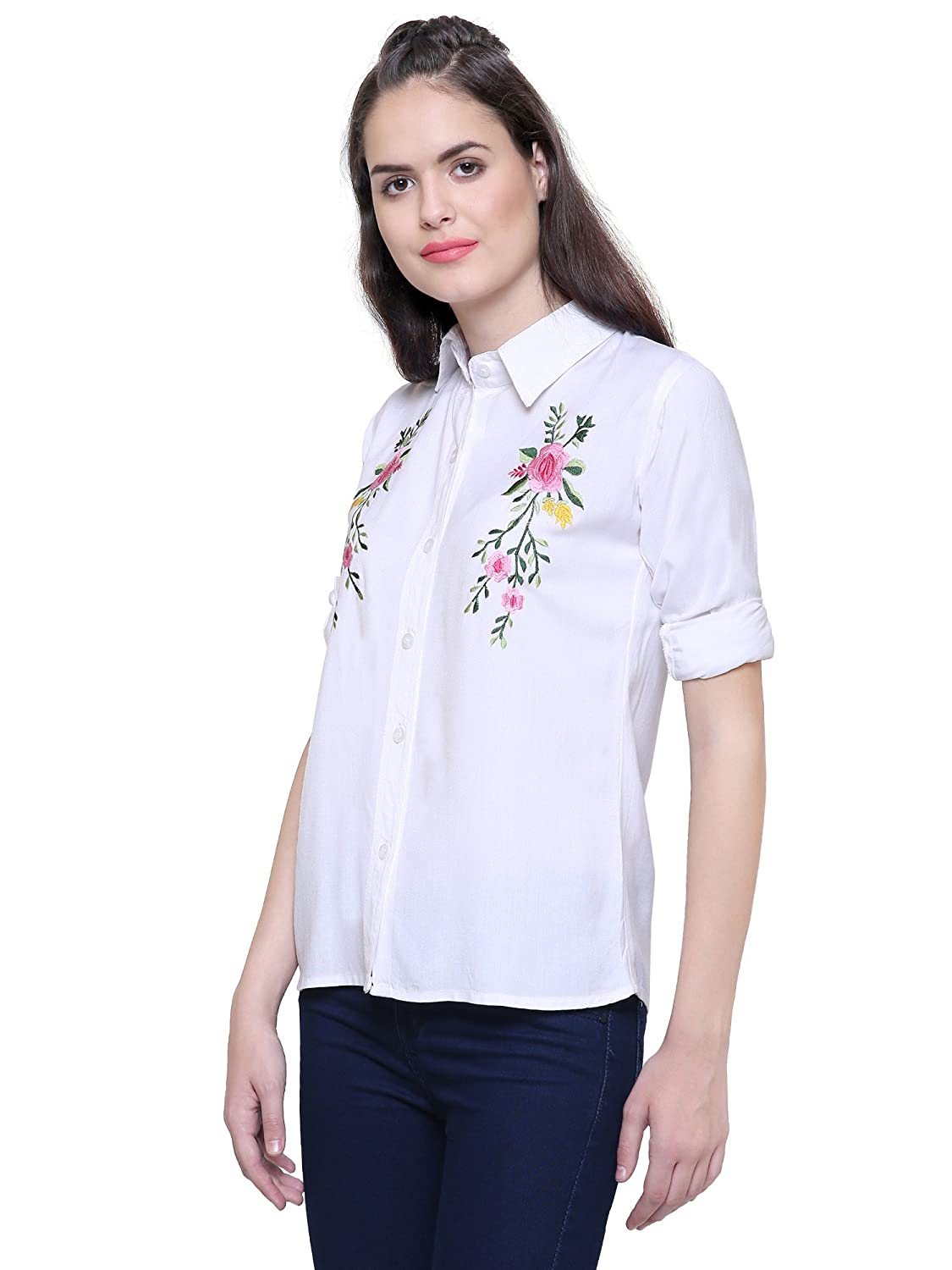 e7023394085e3 Fashion205 White Embroidered Shirt for Women s  Amazon.in  Clothing    Accessories