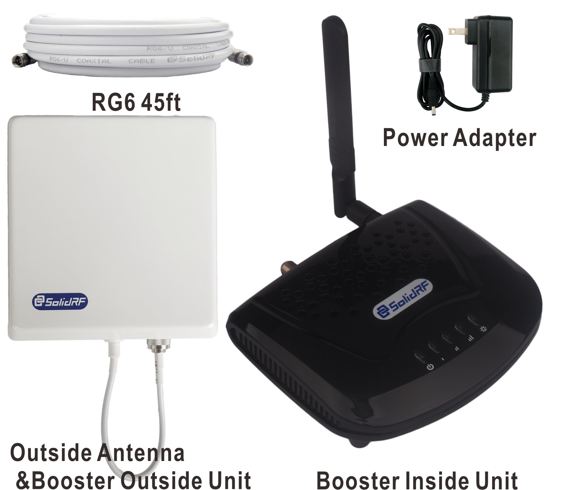 SolidRF SOHO Tri-Band AT&T, T-Mobile 4G/LTE Cell Phone Booster For All Carriers 2G/3G and AT&T, T-Mobile 4G LTE, 700(Band12)/850/1900 MHz by SolidRF (Image #2)