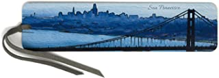 product image for San Francisco Colorful Panoramic Skyline - Wooden Bookmark with Suede Tassel