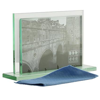 Art Deco estilo doble cara Marcos de fotos de vidrio pesado para dos ...