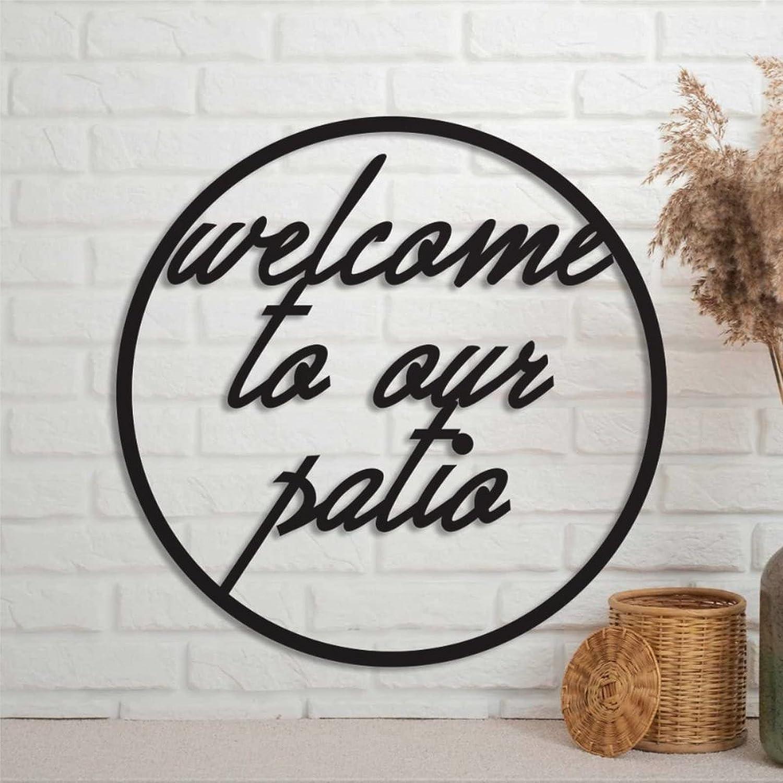 EricauBird Welcome to Our Patio Metal Sign Custom Monogram Letter Wall Decor Home Plaque Personalized Rustic Door Hanger Black Sign for Housewarming Gift Indoor Outdoor