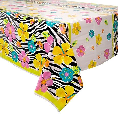 Wild Luau Plastic Tablecloth, 84u0026quot; X 54u0026quot;