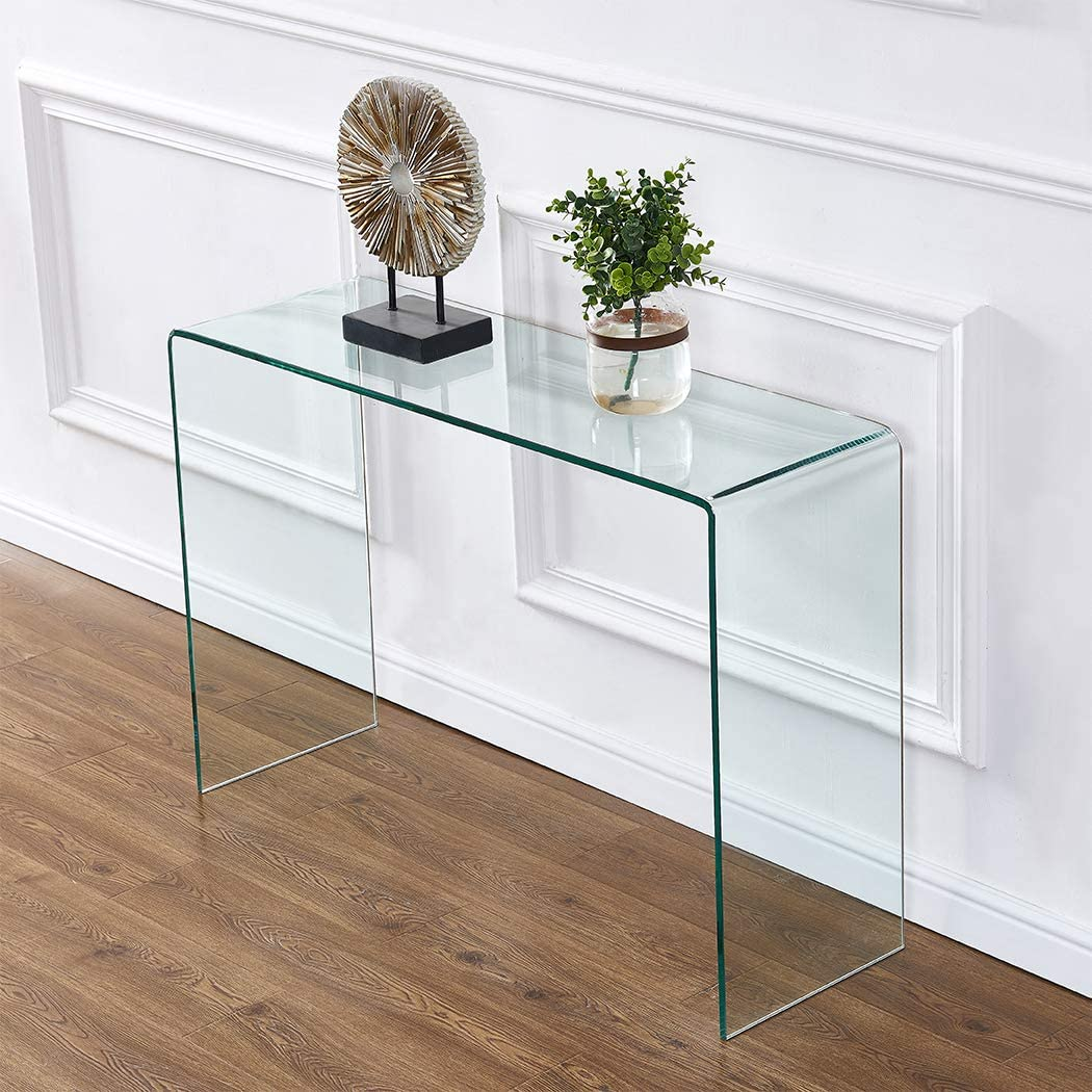 Amazon Com 2020 Clear Glass Narrow Console Table Entryway Sofa Behind Couch 43 3x13 8x29 5 Kitchen Dining
