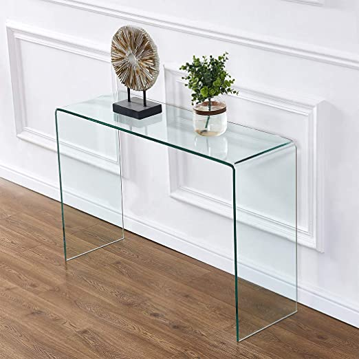 Amazon Com 2020 Clear Glass Narrow Console Table Entryway Table Sofa Table Behind Couch Table 43 3x13 8x29 5 Kitchen Dining