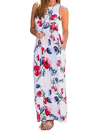 aa732e90e7 Women s Casual Floral Print Racerback Tank Dresses Sleeveless Pocket Long  Maxi Tunic Dress at Amazon Women s Clothing store