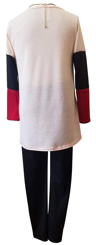 3 Pieces Girl Pant Set Long Sleeve Shirt Top Necklace Legging Pant Outfit Tight