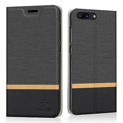 RIFFUE Funda OnePlus 5, Carcasa PU Ultra Delgada con Cartera de Estilo Libro Vaquero Protectora de Folio Flip Case para OnePlus 5 - Negro