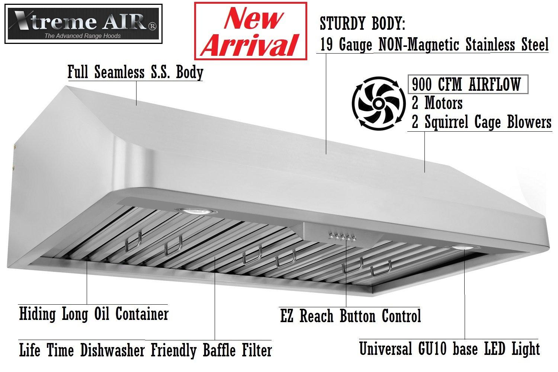 XtremeAIR Economy Series EN10-U30 30'' width, baffle filters, 3-speeds push buttons, under cabinet mount range hood