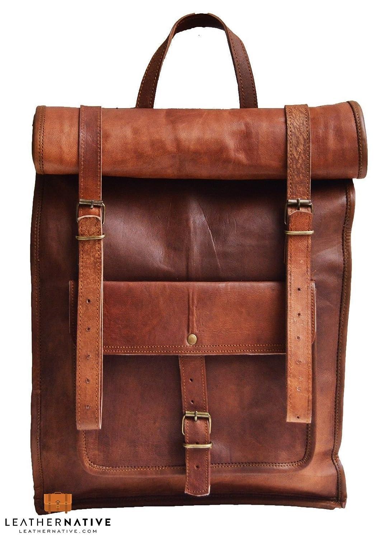 Leather Native large Roll Top Backpack / Rucksack Rolling Bag travel Bikers Bag in genuine leather Business Bag School Bag work Bag Great Gift For Men And Women Sale!
