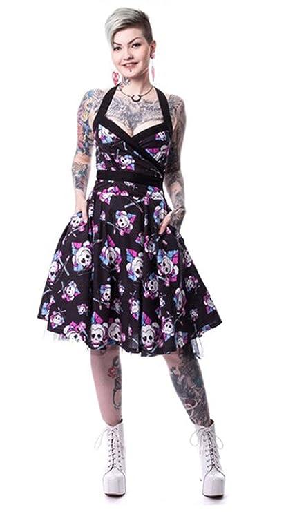 Harley Quinn Skull Suicide Squad 50er Jahren flammte Halter Taschen Kleid Schwarz Pink