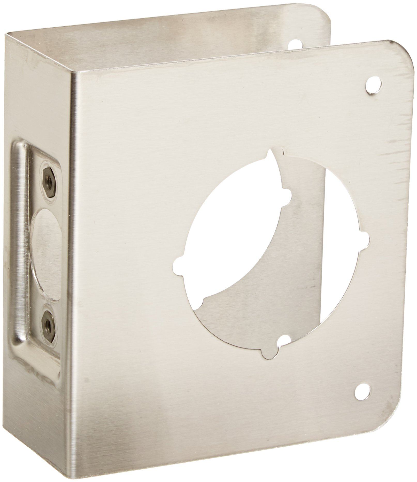 Don-Jo 61-CW 22 Gauge Stainless Steel Classic Wrap-Around Plate, Satin Stainless Steel Finish, 4'' Width x 4-1/2'' Height, For Cylindrical Door Lock (Pack of 10)