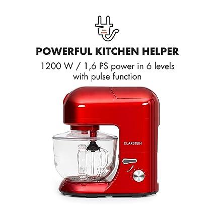Klarstein Lucia Rossa 2G • Robot de cocina universal • Batidora • 1200 W • 5,2 Litros • Amasadora planetaria • Picadora de carne • Rodillo para pasta ...