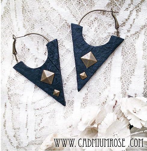 Handmade Leather Triangle Earrings
