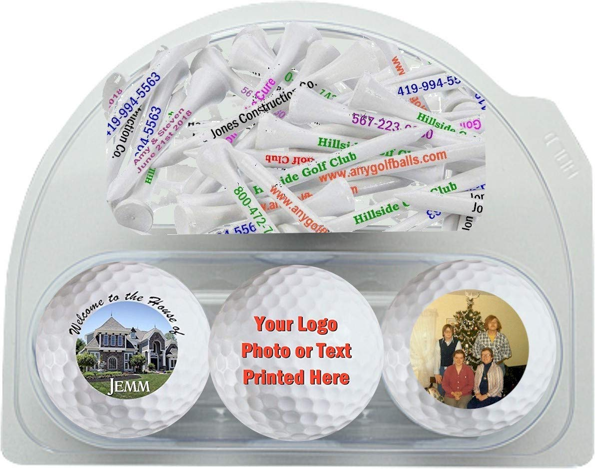 Amazon Com 3 Personalized Golf Balls And 20 Tees Sports Outdoors