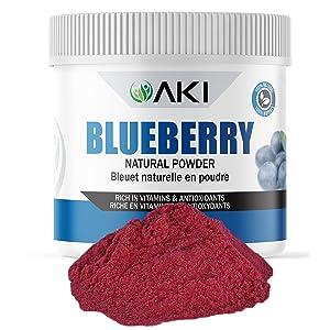 Aki Natural Blueberry Powder Dried Superfood Rich in Antioxidant, Sugar Free, Bulk Powdered Blueberries Fruit For Baking, Flavoring, Smoothie, Yogurt, Recipes, Sprinkle of Magenta Color 5.29 Oz/150Gr