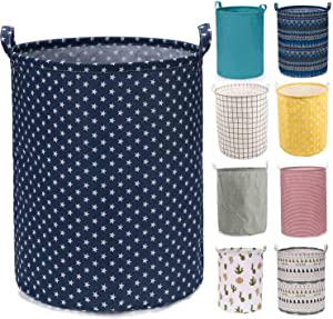 "Every Deco Cylinder Round Single Fabric Plastic Frame Laundry Basket Hamper Storage Bin Organization Collapsible Foldable Toys Clothes - 19.7"" H/Large - Blue W/Stars"
