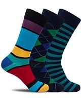Mens Colorful Designer Dress Socks Crazy Funky Striped Argyle Dots - 3 Pack Gift