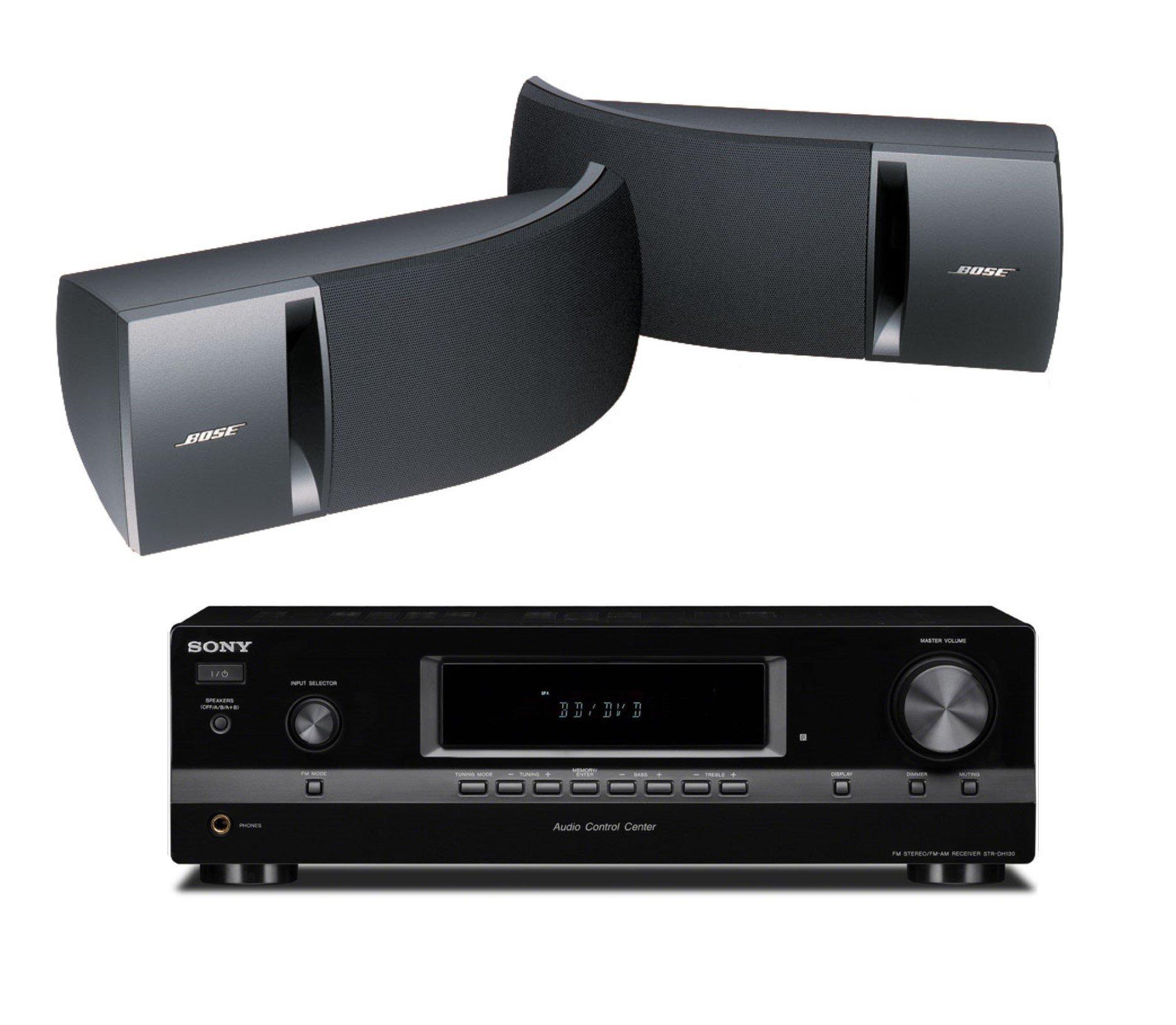 Bose 161 Full Range Bookshelf Speaker Duo (Black) with Sony STRDH130 2 Channel Stereo Receiver