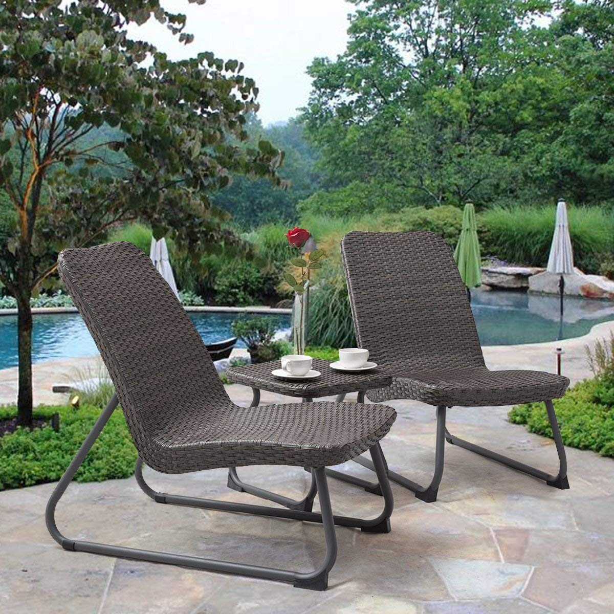 Amazon com tangkula patio furniture set 3 piece all weather outdoor garden wicker chair table set grey brown garden outdoor
