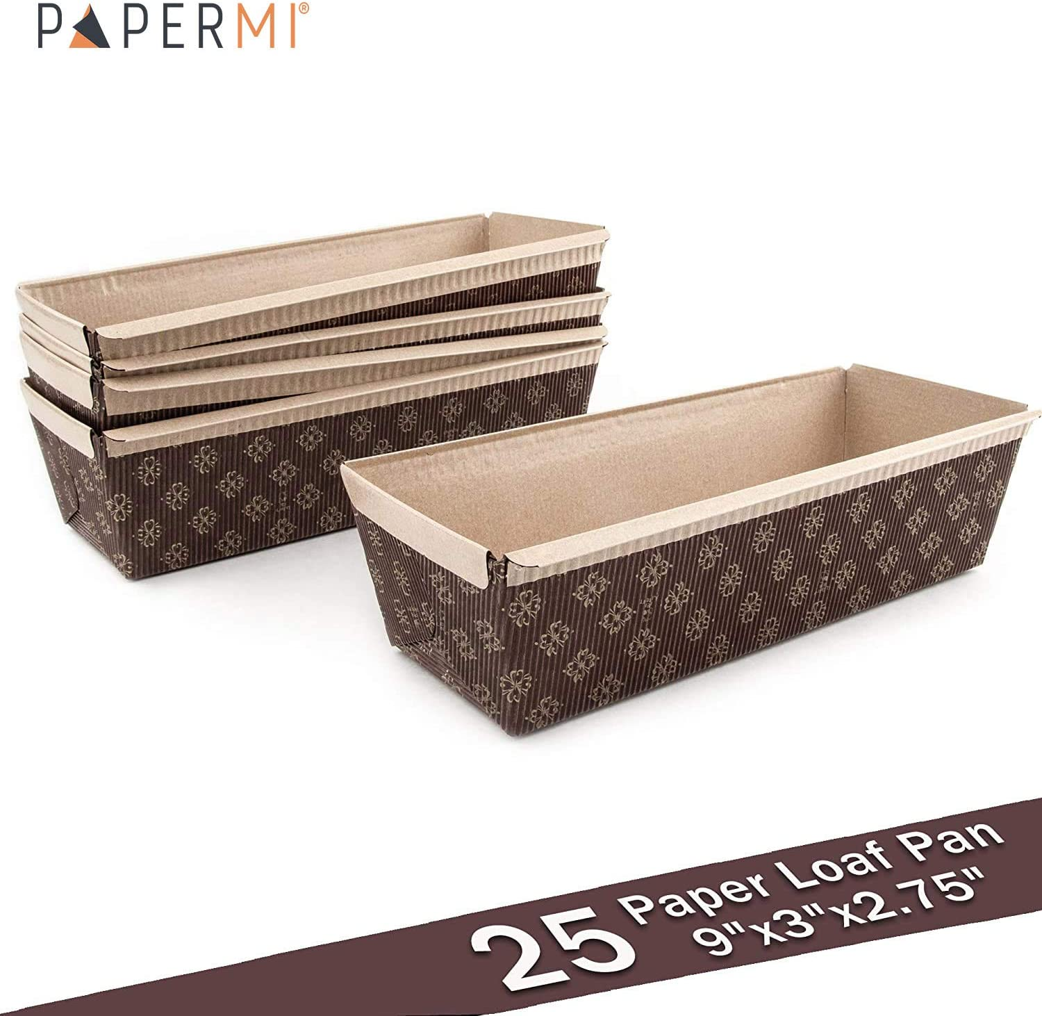 """Paper Loaf Pan, Disposable Paper Baking Loft Mold 25ct, All Natural, Recyclable, Microwave Oven Freezer Safe, Providing Beautiful Display for Baked Goods (Loft Pan 9"""" x3"""" x2.75"""")"""