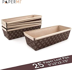 "Paper Loaf Pan, Disposable Paper Baking Loft Mold 25ct, All Natural, Recyclable, Microwave Oven Freezer Safe, Providing Beautiful Display for Baked Goods (Loft Pan 9"" x3"" x2.75"")"