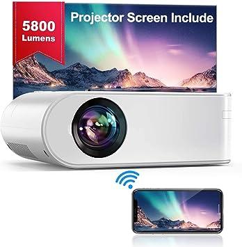 Opinión sobre Proyector WiFi, YABER Mini Proyector Portátil 5800 Lúmenes 1080P Full HD[Pantalla de Proyector Incluida], Cine en Casa 200