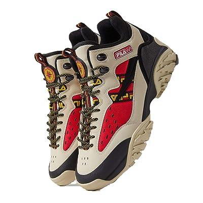 Fila Men's Fixture Trail Hiking Sneaker (9, Fila Cream/Black/Fila Red) | Hiking Shoes