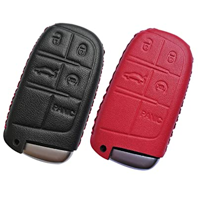Coolbestda 2Pcs Leather 5buttons Smart Key Fob Remote Cover Case Protector Keyless Jacket Accessories for Jeep Grand Cherokee Dodge Challenger Charger Dart Durango Journey Chrysler 300: Automotive
