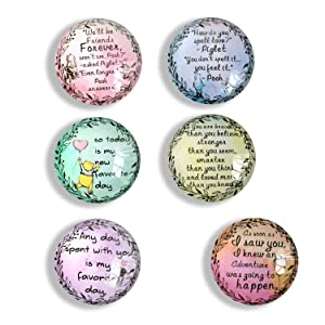 classic winnie the pooh inspirational quote Refrigerator Magnets, set of six 4x4cm winnie the pooh gifts for kids, classic pooh Whiteboard Magnets for classroom or Locker