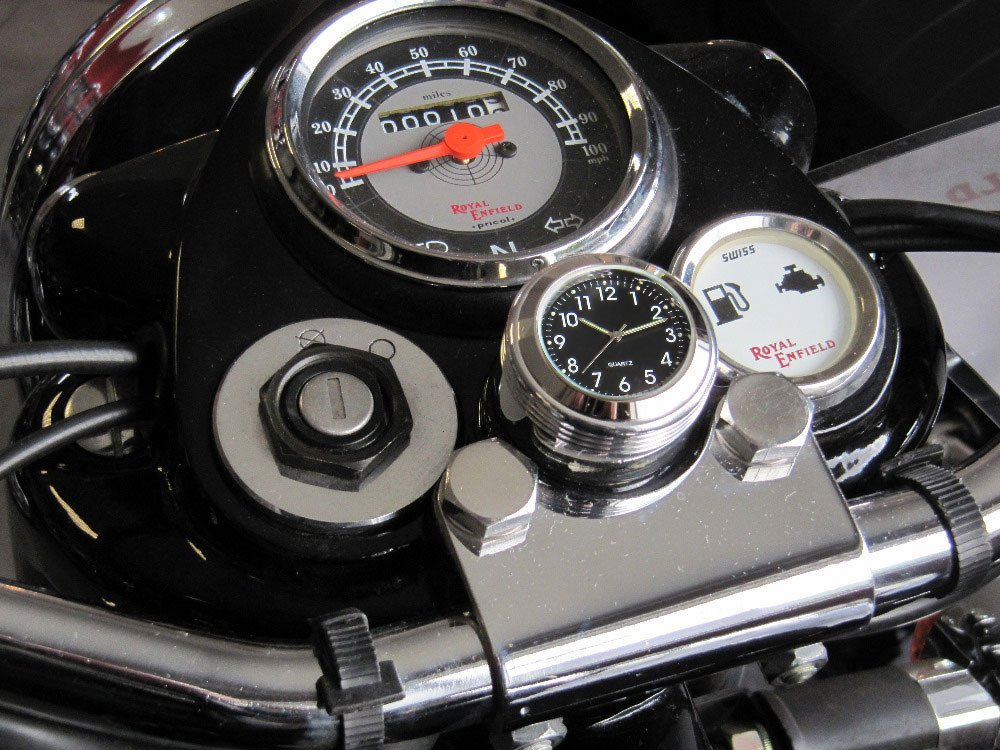 British Made Smooth Royal Enfield® Billet Stem Nut Cover with Black Thermometer