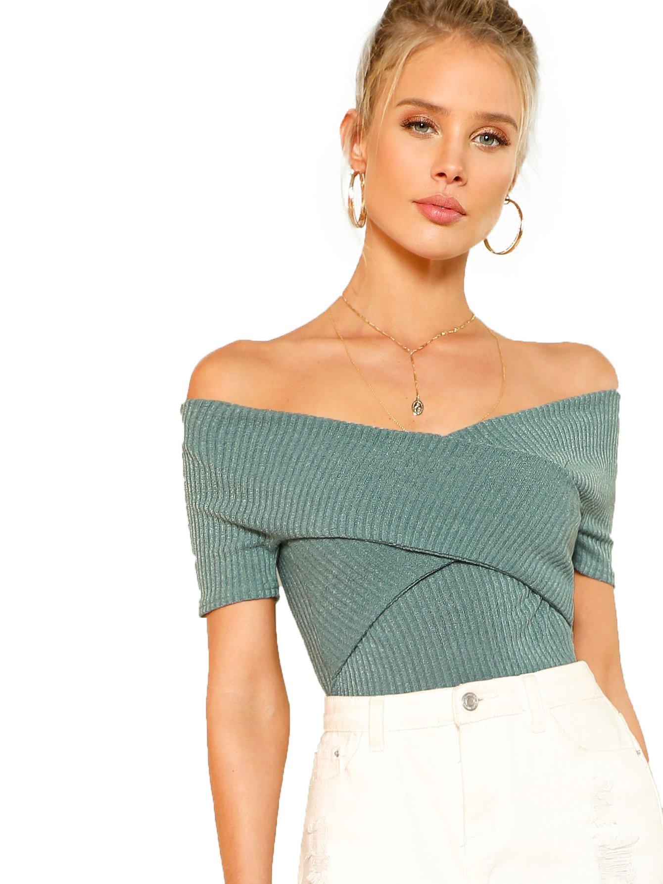 Romwe Women's Off Shoulder Cross Wrap Slim Fit Short Sleeve Blouse Tops Green Large