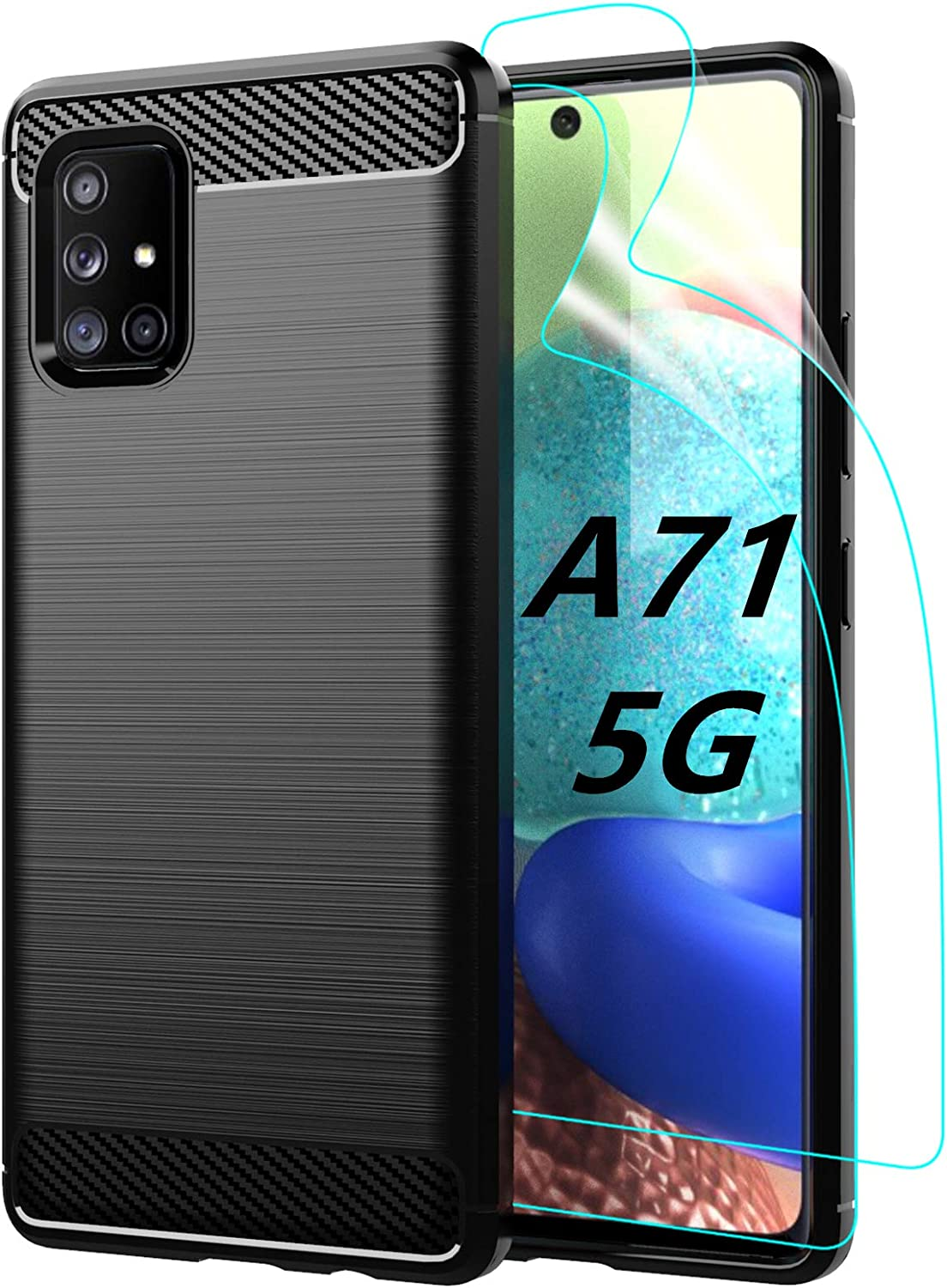 Amazon Com Samsung Galaxy A71 5g Case With 2 Pcs Hd Screen Protector Protective Phone Cover Shockproof Soft Tpu Cases For Galaxy A71 5g Black Electronics