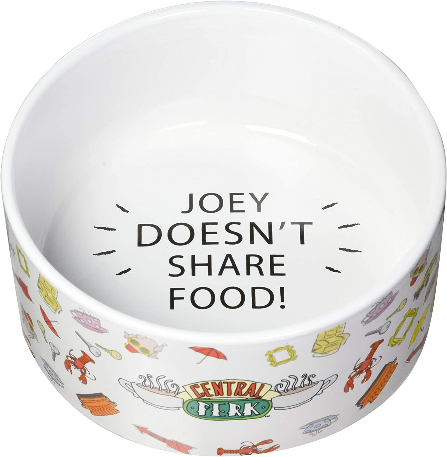 Warner Bros Friends TV Show Joey Doesn't Share Food Ceramic Dog Food Bowl, 6 in | White Dog Bowl, Friends TV Merchandise for Friends Fans | Dog Water Bowl or Dog Food Bowl for Wet or Dry Food