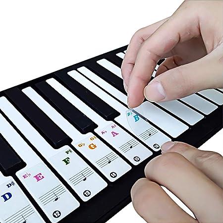 Pegatinas de piano de color para teclados 49/61/76/88 – Transparente y extraíble con libro electrónico de piano gratuito
