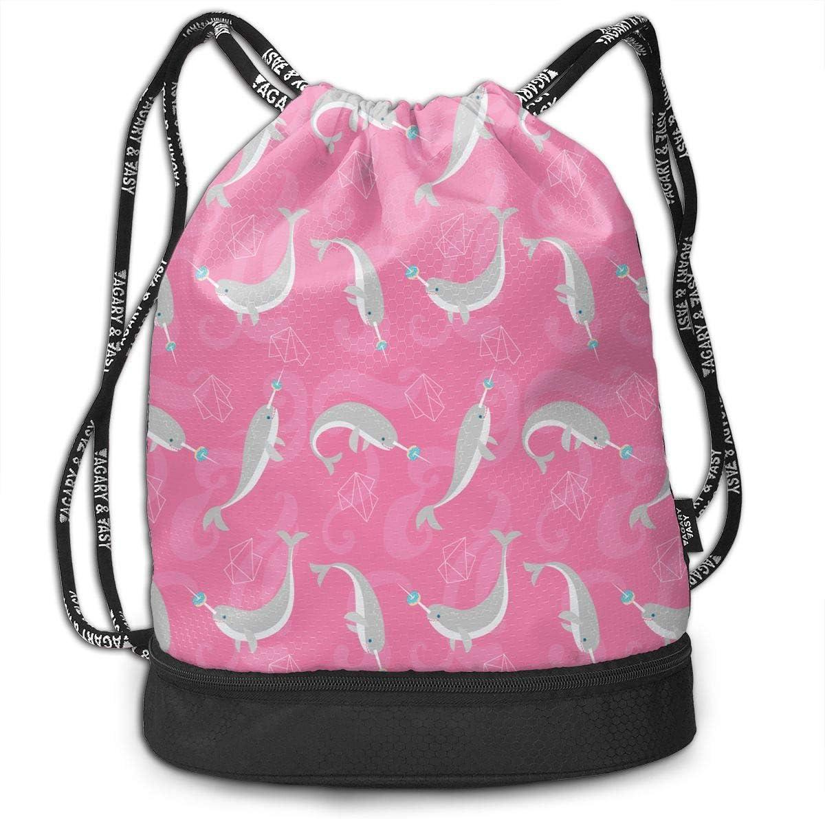 Zhangyi Doughnut Narwhal Drawstring Backpack Sports Gym Cinch Sack Bag for Men /& Women Sackpack Dance Bag