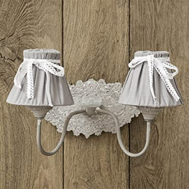 lampe murale mathilde blanc gris motif floral style maison de campagne applique murale style. Black Bedroom Furniture Sets. Home Design Ideas