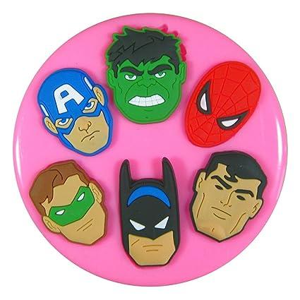Caras de superhéroes Molde de silicona para la torta de Decoración Pastel de Cupcake Toppers Glaseado