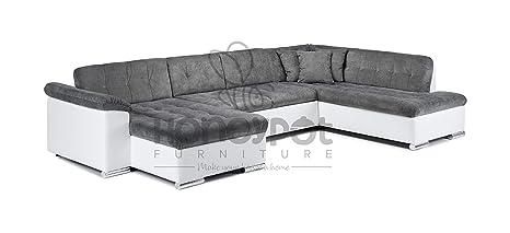 Surprising Honeypot Sofa Scafati Corner Sofa Bed Faux Leather Fabric White Grey Right Hand Inzonedesignstudio Interior Chair Design Inzonedesignstudiocom