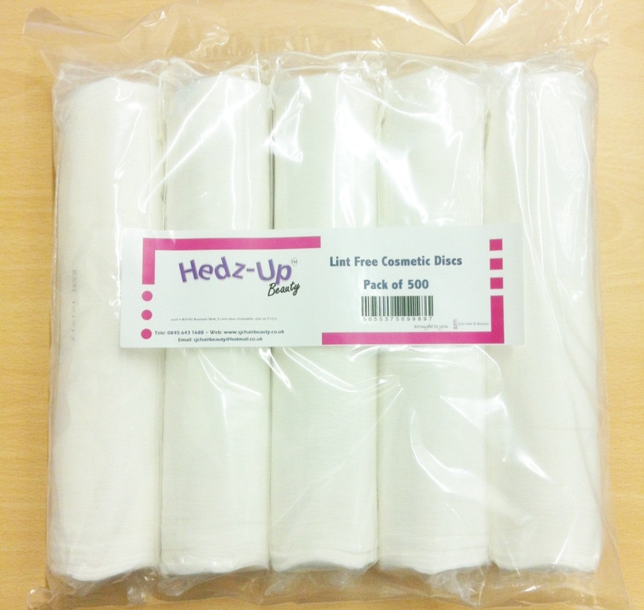 Hedz-UpTM Cosmetic Face & Nail Lint Free Cotton Wool Discs/ Pads x 500 by Hedz-Up SJC-50001