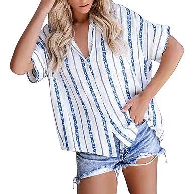 66d25fb1 JQjian Fashion Short Sleeve Blue Striped T Shirt, Womens Button Tee Casual  Popular Blouse Tops at Amazon Women's Clothing store: