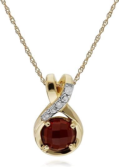 Gemondo Rubis Collier, 9 CT Rubis or Jaune & Diamant Pendentif Spirale avec 45cm Chaîne