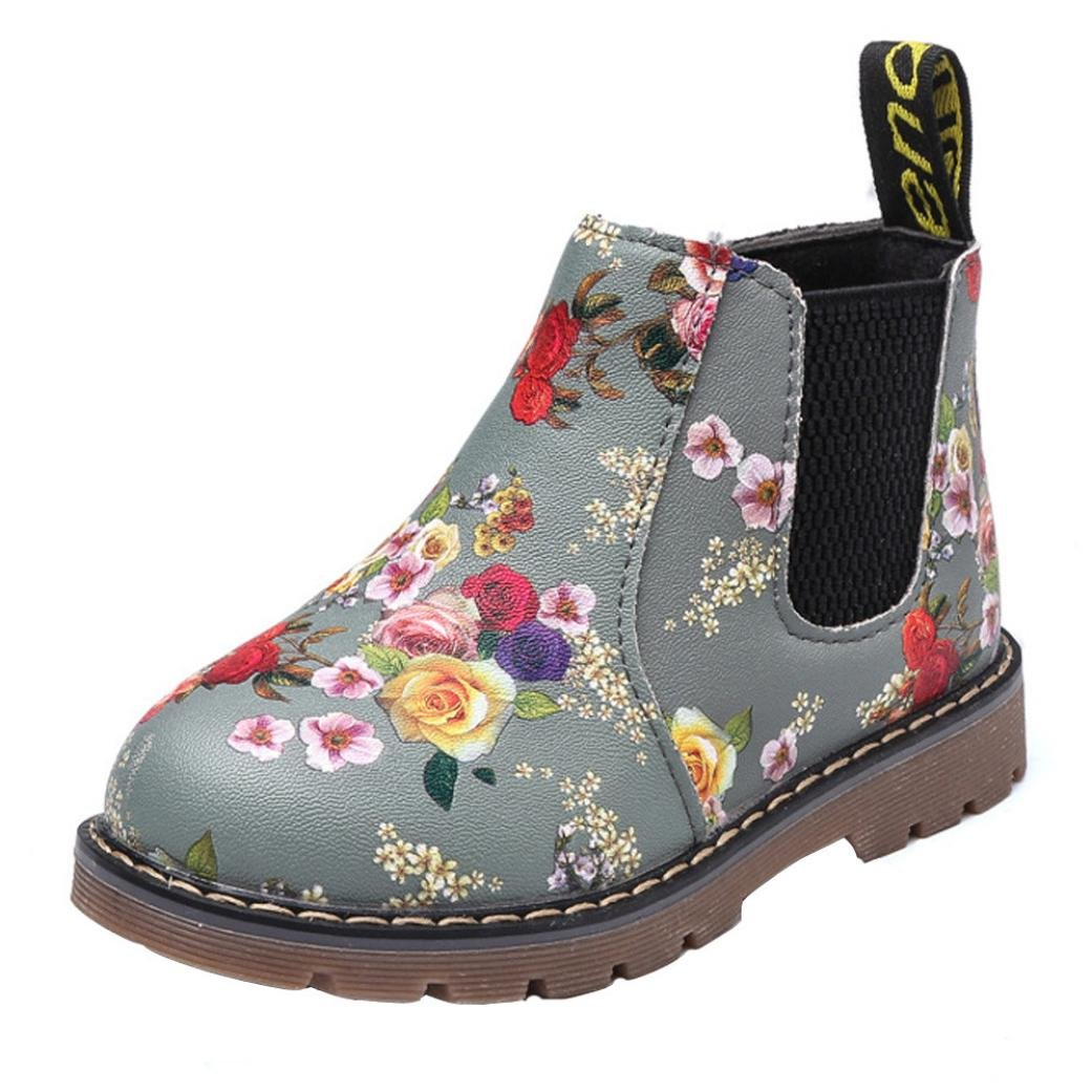 Morrivoe Fashion Girls Leather Side Zipper Floral Print Martin Sneaker Boots Kids Outdoor Sneakers Ankle Boot Casual Shoes