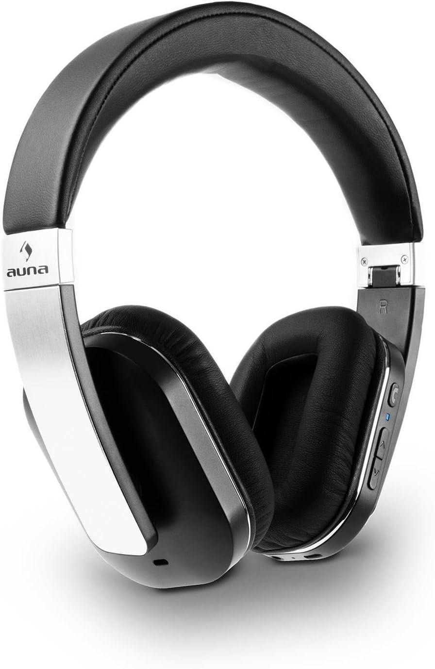 AUNA Elegance Auriculares Bluetooth - Cascos, Auriculares inalámbricos, Bluetooth 4.0, AptX, Headset, Manos Libres, NFC, Batería Iones de Litio, Autonomía 14h, Negro
