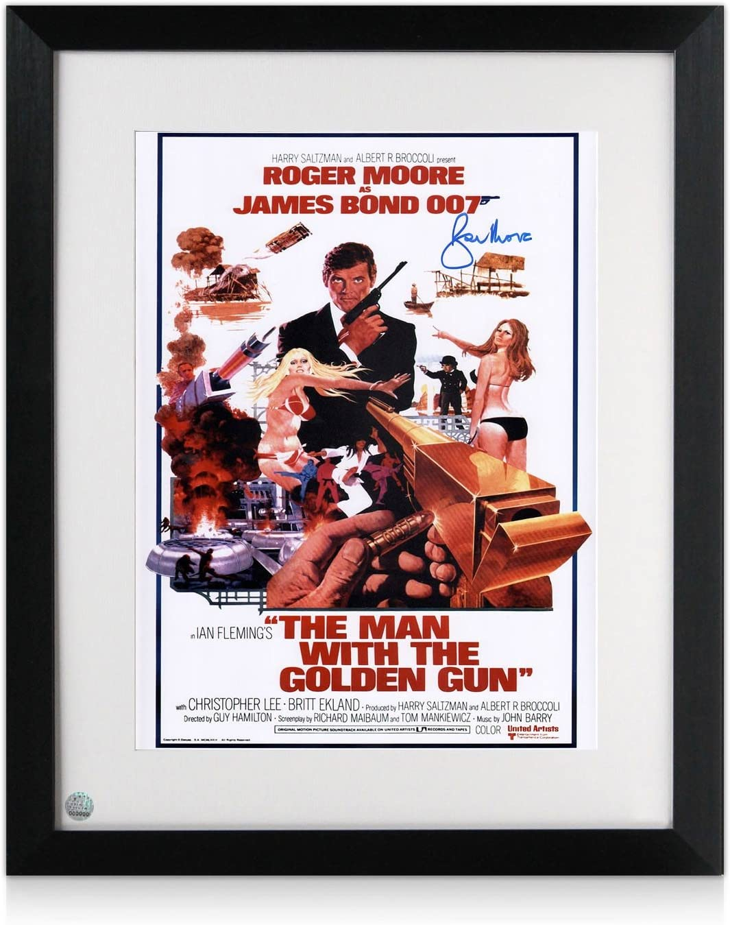 Roger Moore y firmada Enmarcada El hombre de la pistola de oro de James Bond 007 Poster de Película: Amazon.es: Deportes y aire libre