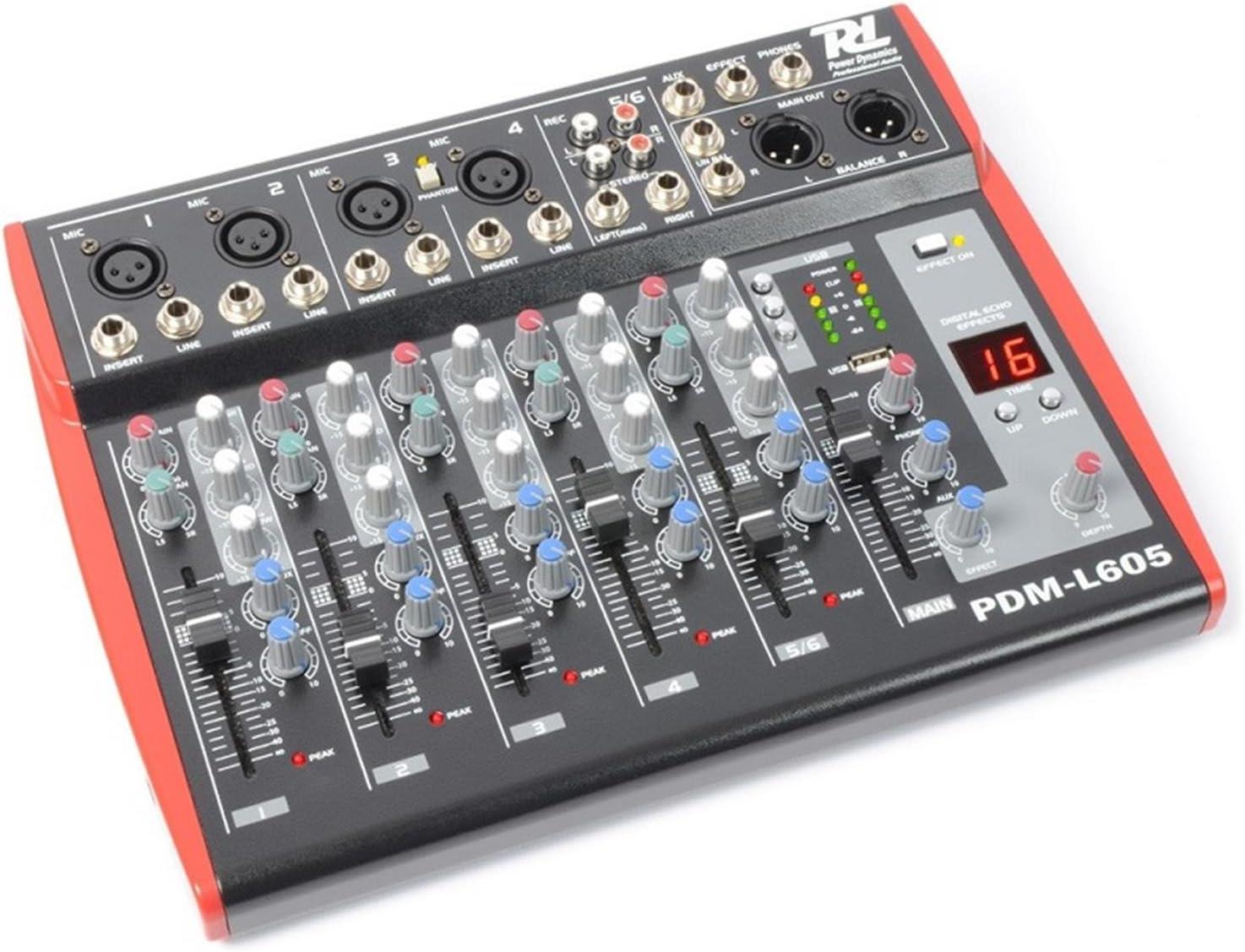 Power Dynamics PDM--L605 Mesa de Mezclas 6 Canales USB AUX: Amazon ...